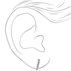 Silver 15MM Embellished Triangle Hoop Earrings,