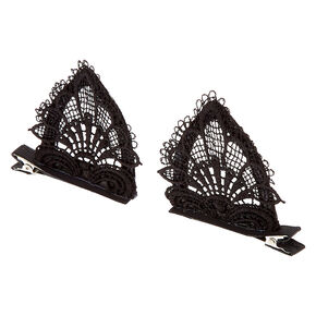 Lace Cat Ear Hair Clips - Black, 2 Pack,