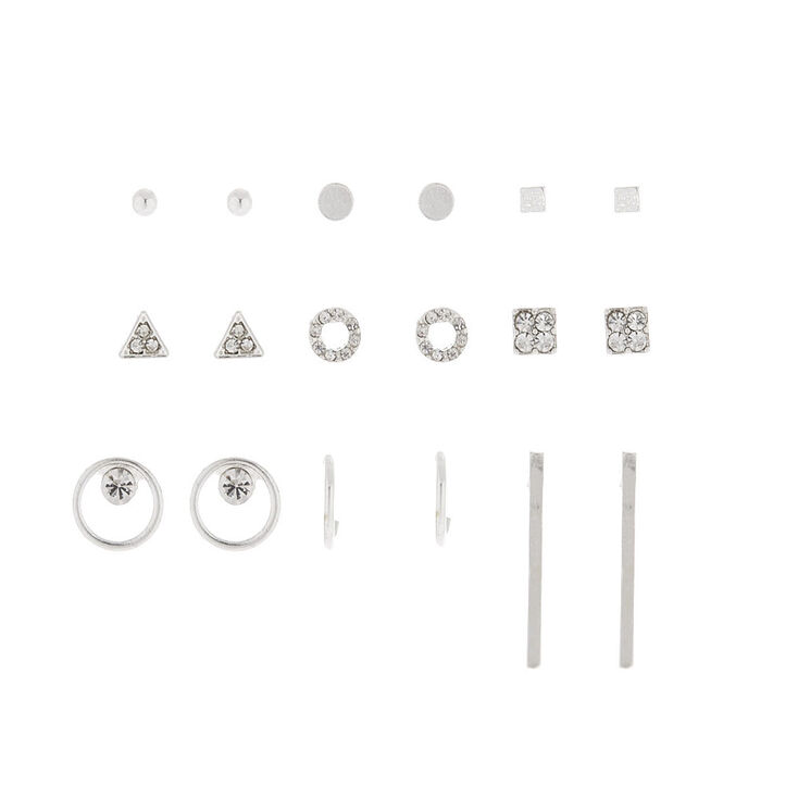 Silver Geometric Stud Earrings - 9 Pack,