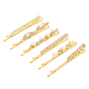 Gold-Tone Faux Pearl & Crystal Bobby Pins,