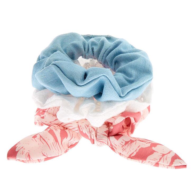 Small Denim Eyelet Leaf Hair Scrunchies - Pink, 3 Pack,