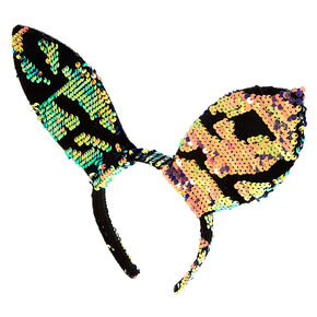 Velvet Sequin Bunny Ears Headband - Rose Gold,