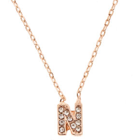 "Rose Gold Studded ""N"" Initial Necklace,"