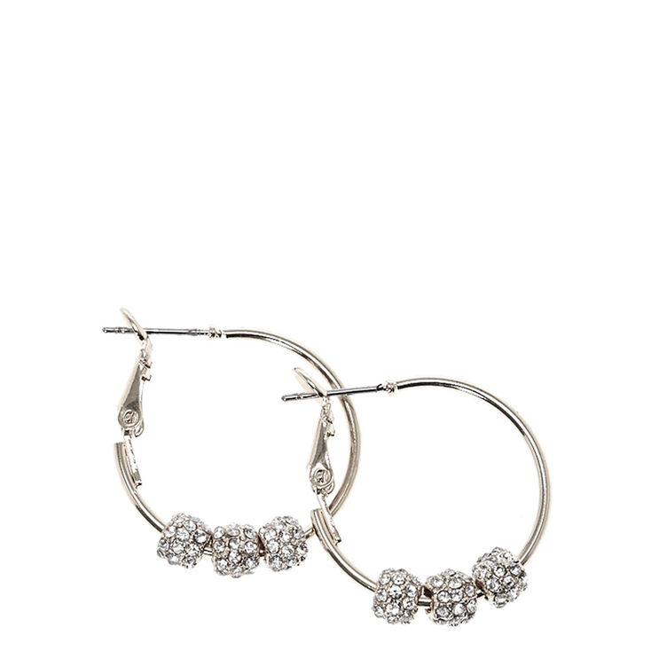 Silver Tone Fireball Beads Hoop Earrings,