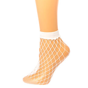 White Fishnet Ankle Socks,