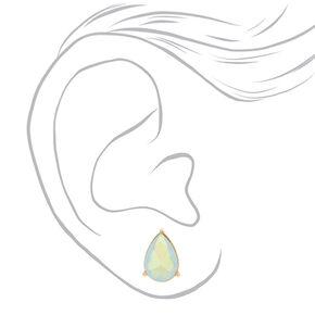 Iridescent White Teardrop Stud Earrings,