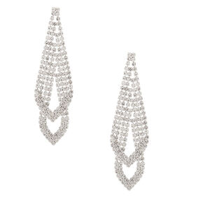 "Silver Rhinestone 3"" Double Arrow Drop Earrings,"