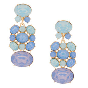 "Gold 2"" Stone Drop Earrings - Blue,"