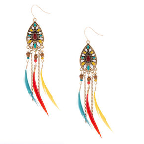 "Gold 4"" Beaded Feather Teardrop Drop Earrings - Red,"
