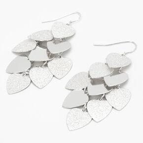 """Silver 2.5"""" Heart Chandelier Earrings,"""