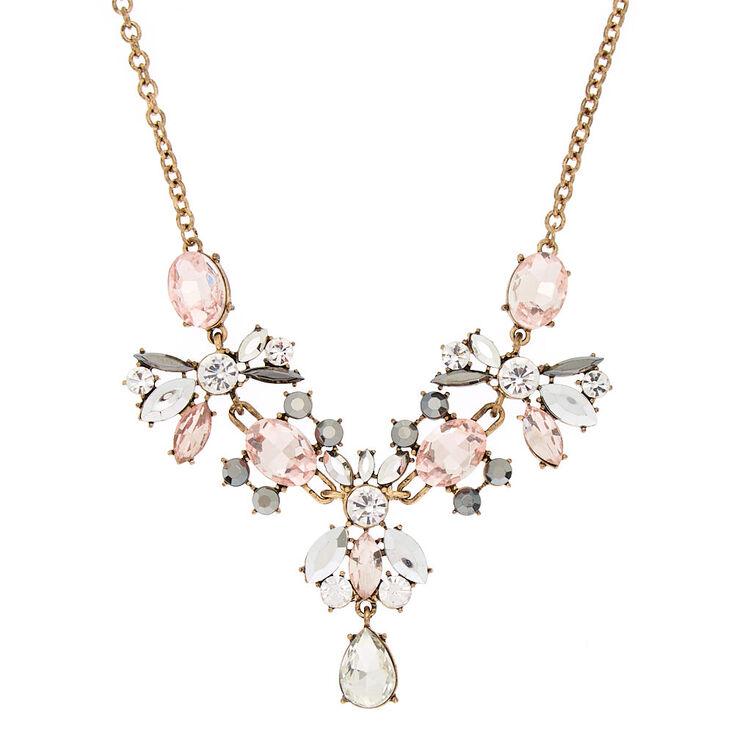 Antique Embellished Statement Necklace - Pink,