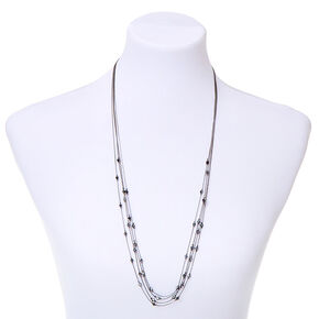 Hematite Dainty Bead Multi Strand Necklace,