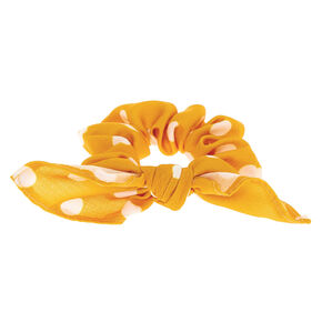 Small Polka Dot Knotted Bow Hair Scrunchie - Mustard,