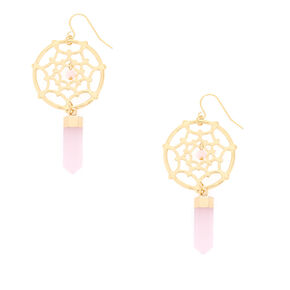 "Gold Dreamcatcher 2.5"" Drop Earrings,"