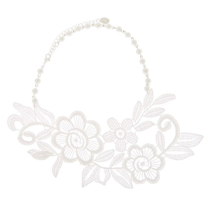 Lace Pearl Floral Statement Necklace - White,