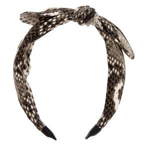Snakeskin Knotted Bow Headband - Gray,