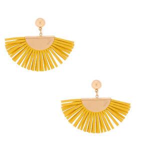 """Gold 1.5"""" Suede Tassel Fan Drop Earrings - Yellow,"""