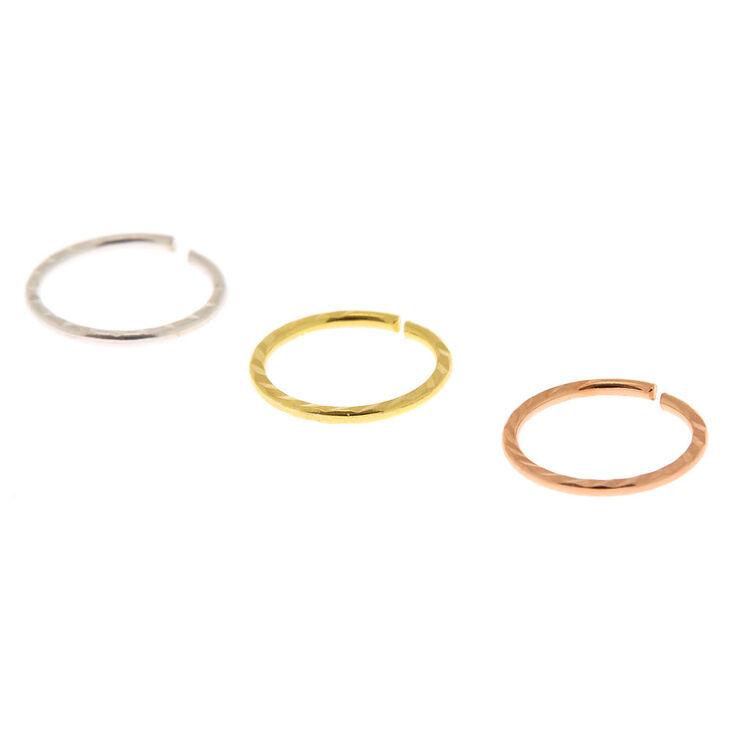 Mixed Metal Sterling Silver  22G Textured Cartilage Hoop Earrings - 3 Pack,