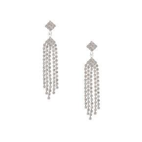 Vintage Rhinestone Diamond & Fringe Drop Earrings,