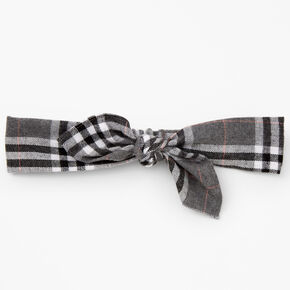 Neutral Plaid Knotted Bow Headwrap - Gray,
