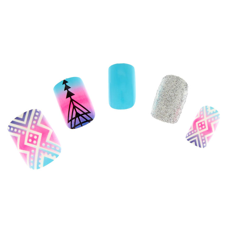 Blue, Pink & Purple Ombre Instant Nails,