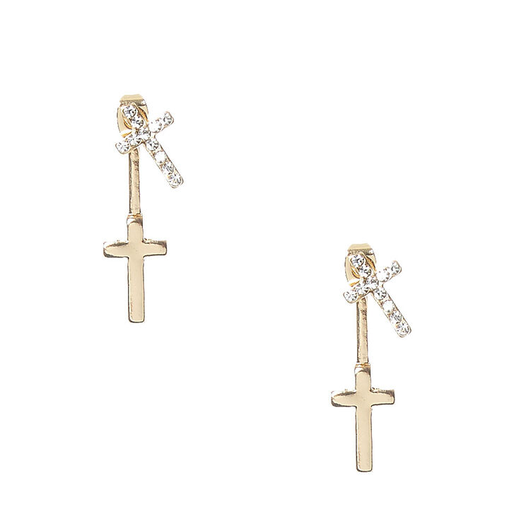 Gold Tone Double Cross Front & Back Earrings,