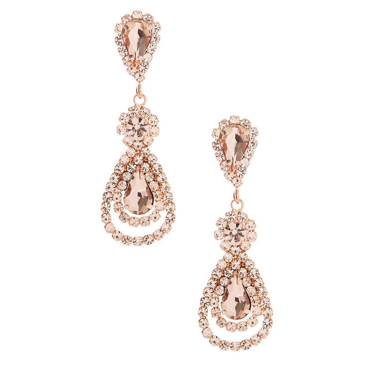 "Rose Gold 2"" Petal Teardrop Drop Earrings,"