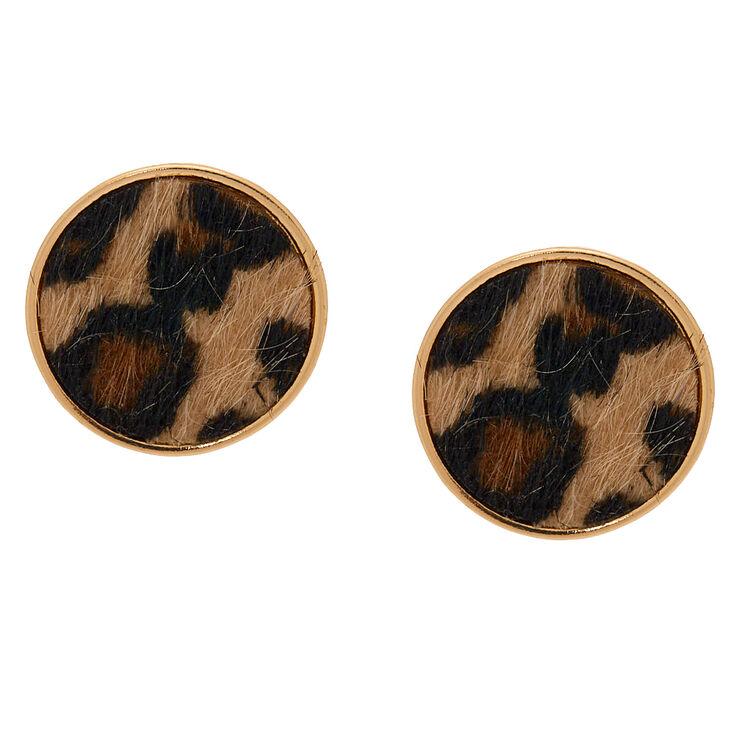 Gold Leopard Round Stud Earrings,