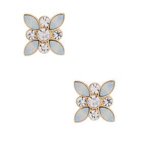 Glass Rhinestone Flower Petal Stud Earrings - Opal,