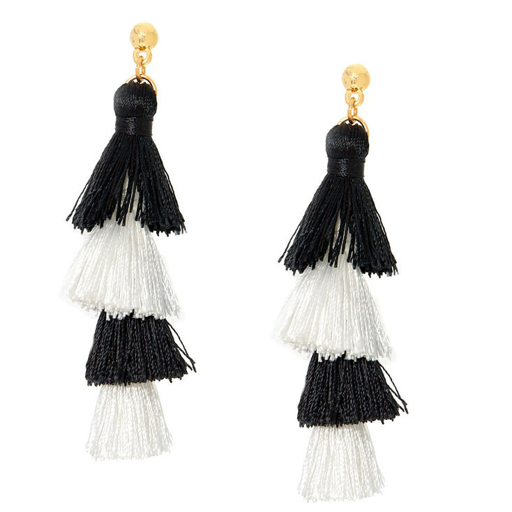 Black & White Tiered Tassel Drop Earrings,