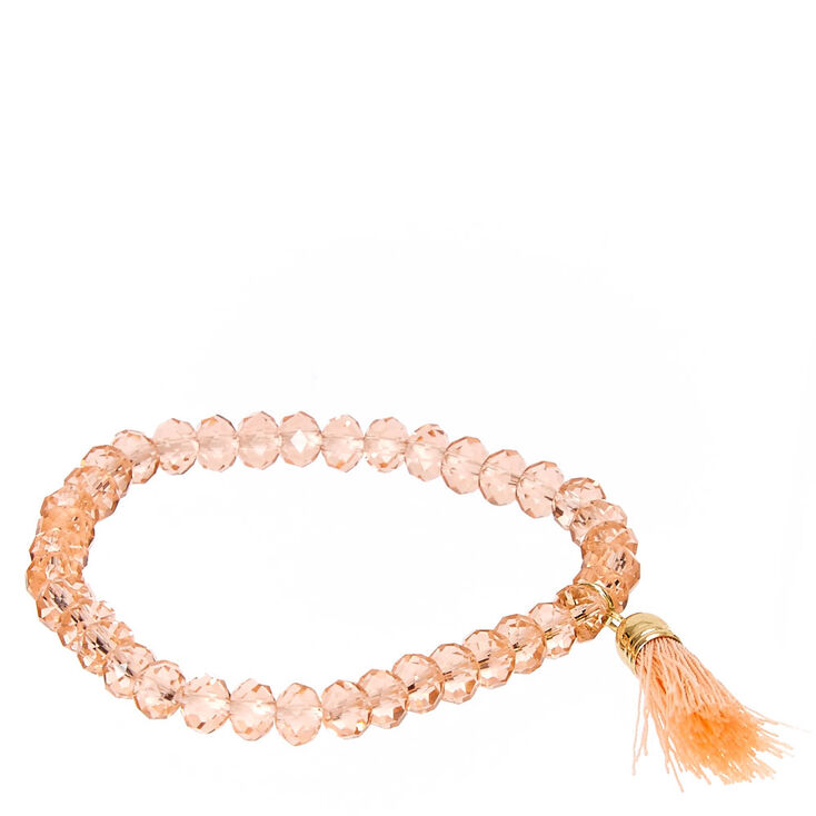 Peach Faceted Bead with Tassel Charm Stretch Bracelet,