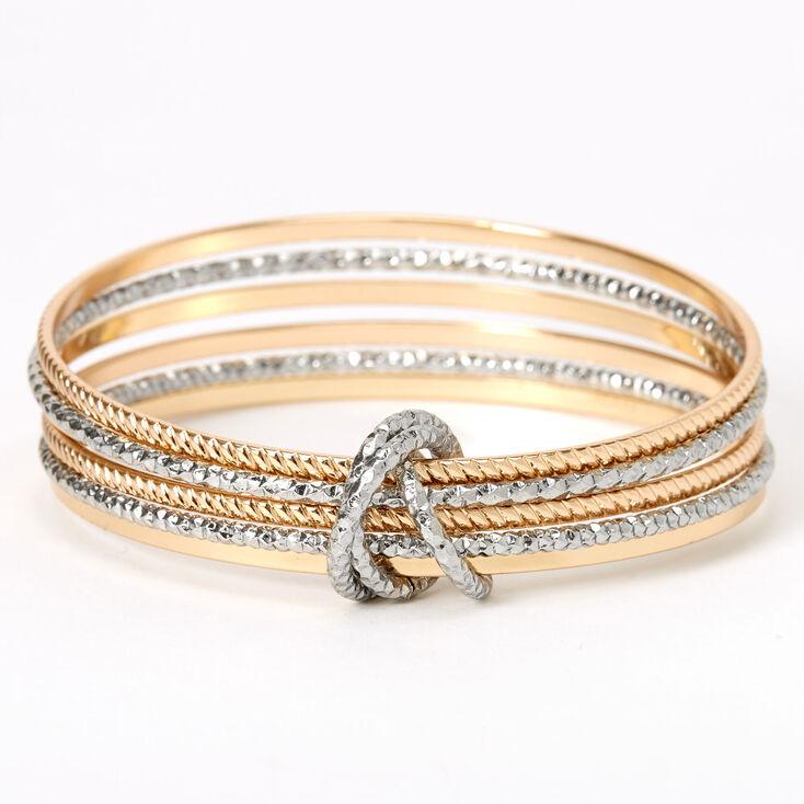 Mixed Metal Textured Bangle Bracelets - 6 Pack,