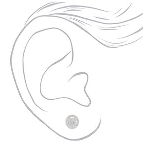 Sterling Silver Cubic Zirconia 5MM Square Halo Earrings,