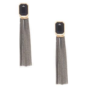 """3"""" Stone Tassel Drop Earrings - Black,"""