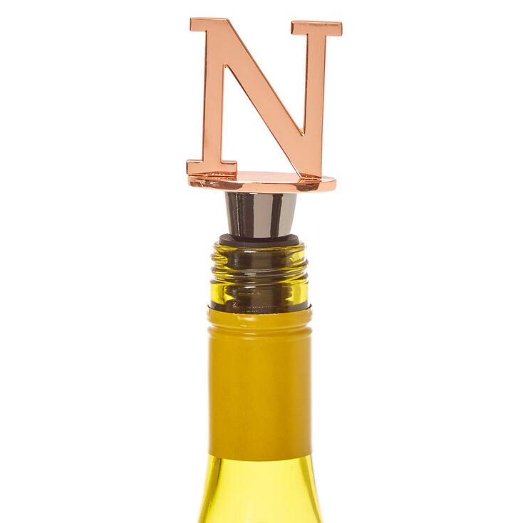 """Metallic Monogram Letter """"N"""" Wine Stopper,"""