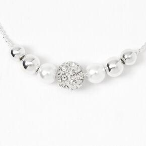 Silver Crystal Fireball & Pearl Bolo Bracelet,