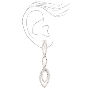 "Silver 2.5"" Crystal Drop Earrings,"
