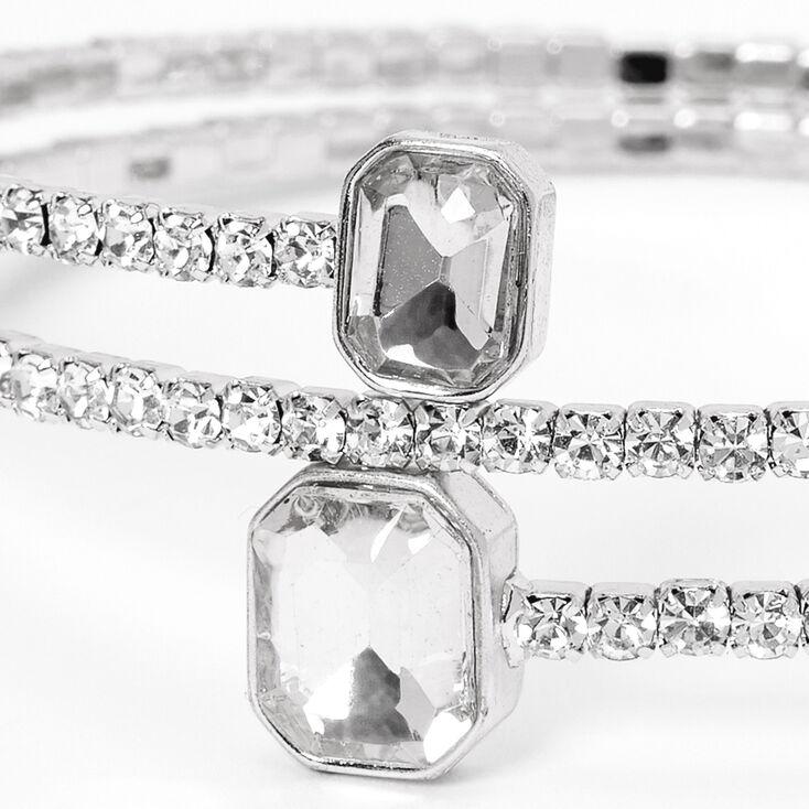 Silver Rhinestone Emerald Tip Cuff Bracelet,