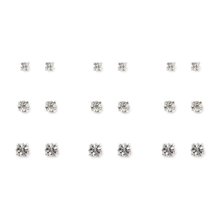 Graduated Square Set Crystal Stud Earrings Set of 9,
