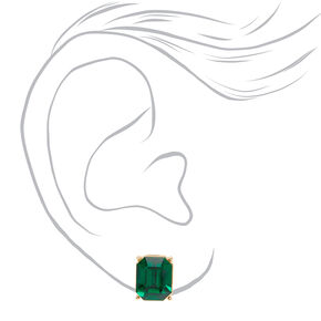 Gold Jewel Stud Earrings - Emerald,
