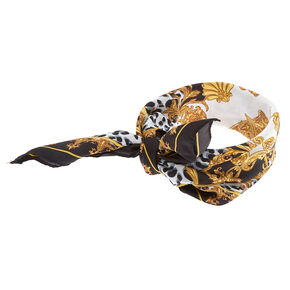 Fancy Leopard Filigree Bandana Headwrap - Black,