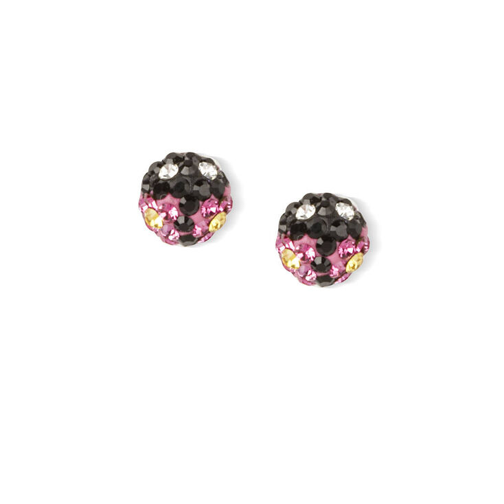 Sterling Silver Crystal Ladybug Stud Earrings,