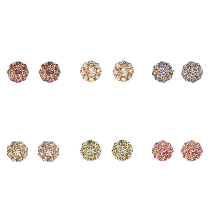 Gold Tone Colored Crystal Flower Stud Earrings,