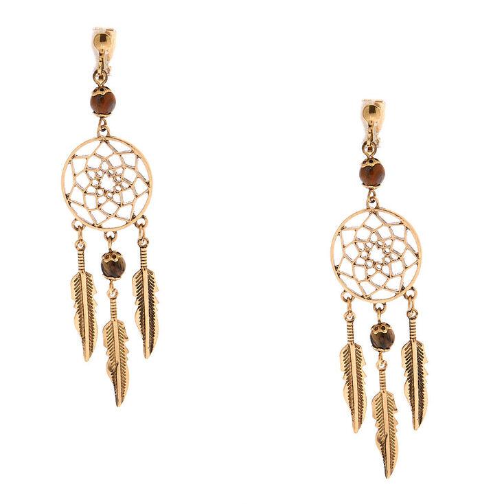 "Gold 3"" Beaded Dreamcatcher Clip On Drop Earrings - Brown,"