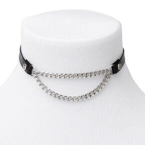 Silver Biker Chain Choker Necklace - Black,