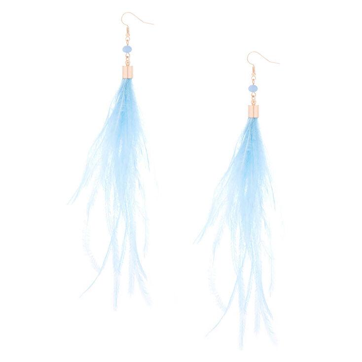 """5"""" Feather Tassel Drop Earrings - Blue,"""