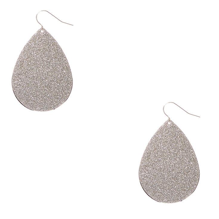 Silver Glitter Teardrop Drop Earrings,
