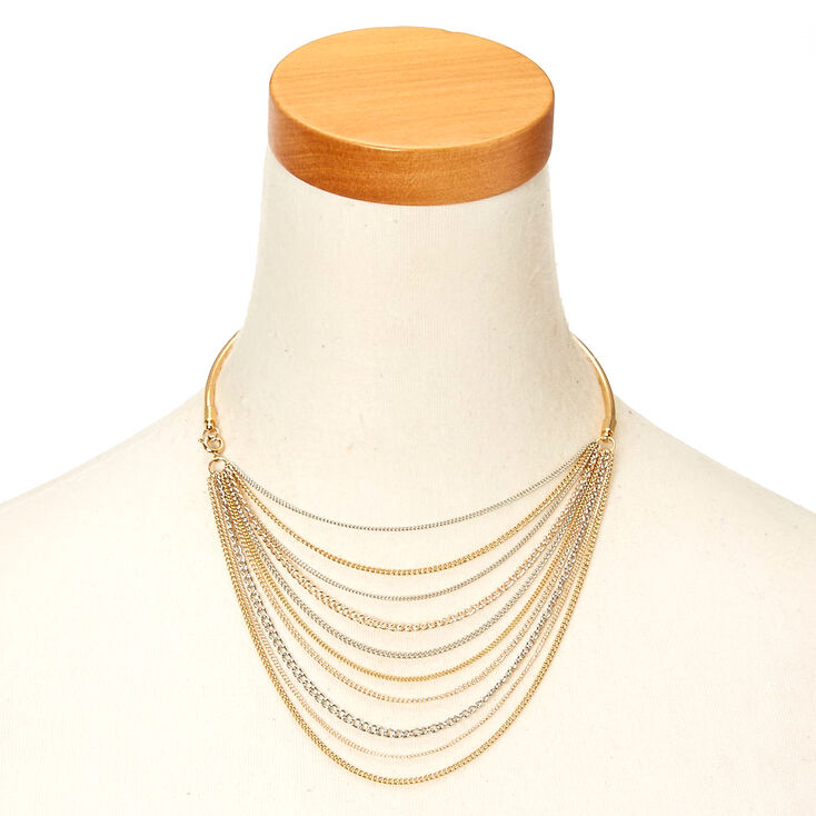 Mixed Metal Multi-Layer Choker Necklace,