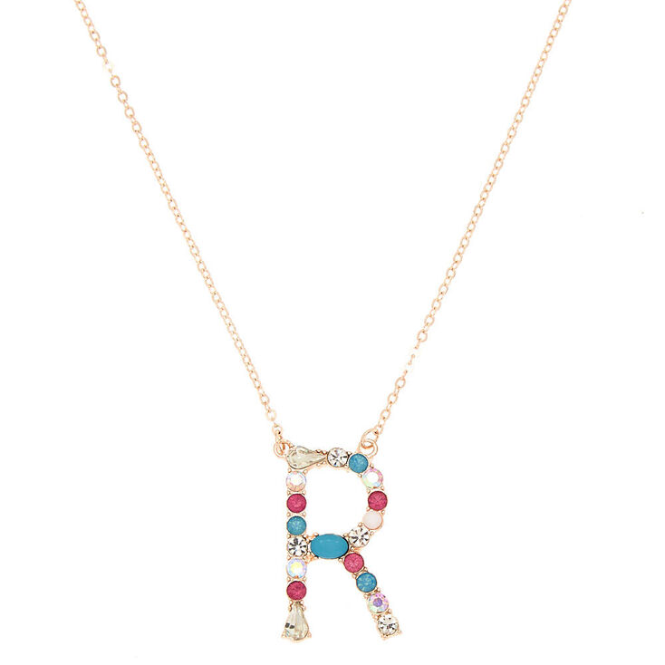Embellished Long Initial Pendant Necklace - R,