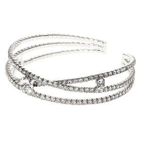 Silver Rhinestone Criss Cross Cuff Bracelet,